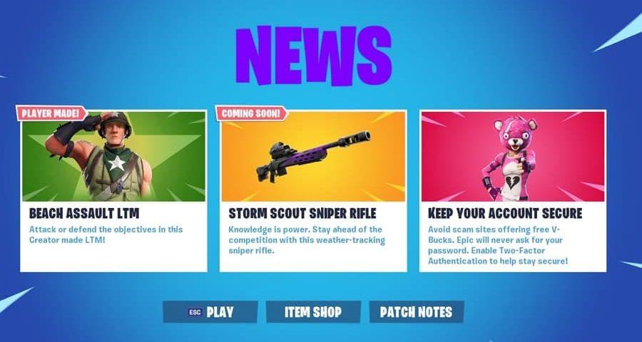 تفنگ جدید ردیابی طوفان در آپدیت بازی Fortnite